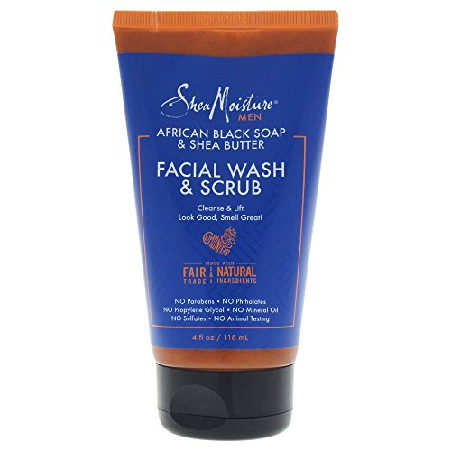 Shea Moisture African Black Soap & Shea Butter Facial Wash & Scrub Cleansing for Men, 4 Ounce