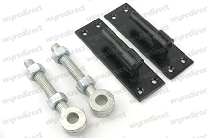 2 Heavy Duty Wrought Iron Gate Hinges Brackets 16mm Pin Hook On Plate