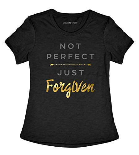 Grace & Truth Not Perfect Just Forgiven Women's Christian T-Shirt (Large)