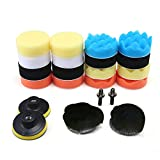 KOBWA 22pcs Compound Drill Buffing Sponge Pads Kit for Car Sanding, Polishing,Waxing,Sealing Glaze.Polishing Buffer Wool and Magic Paste Wheel Polishing Pad Woolen Polishing Waxing Pads Kits.