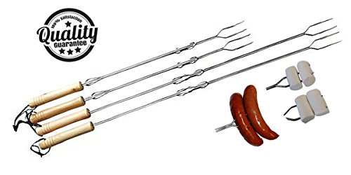 Best Marshmallow Roasting Sticks Camping and Hot Dog Forks - Extendable - Set of 4 - Quality Chrome Plated - Includes