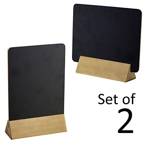 Set of 2 Tabletop Double Sided Chalkboard Display Sign / Placeholder with Wooden Base Stand, Beige (Tabletop Display Stand)