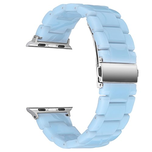 V-Moro Compatible Apple Watch Bands 42mm 44mm Series 4 - Fashion Resin Band Bracelet Metal Stainless Steel Silver Buckle for Apple Watch Series 4 Series 3 Series 2 Series 1(Sky Blue, 42mm)