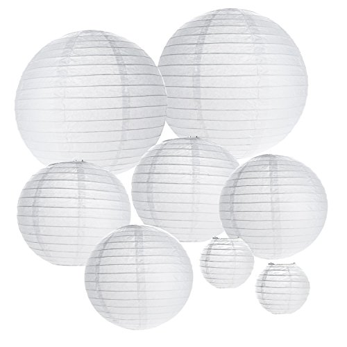 Tosnail Paper Lanterns for Wedding Party Decorations Crafts Lanterns Paper Lamp, White, Pack of 15