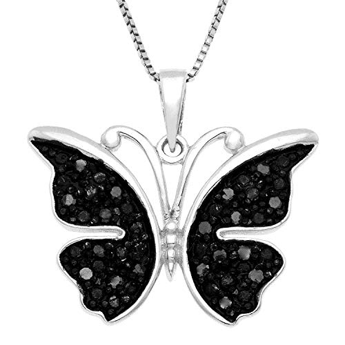 JewelExclusive Sterling Silver .25 CTTW black diamond butterfly pendant