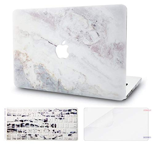 "KECC Laptop Case for MacBook Pro 13"" (2020) w/Keyboard Cover Plastic Hard Shell A2338 M1 A2289 A2251 Touch Bar + Screen Protector 3 in 1 Bundle (White Marble 2)"