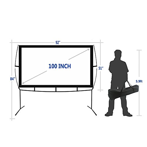 Portable Projector Screen with Stand, Indoor and Outdoor Movie Screen 100'' Diagonal 16:9 with Wrinkle-Free Design (Easy to Clean, 1.1 Gain, 160° Viewing Angle and Includes a Carry Bag) by Blina (Image #3)