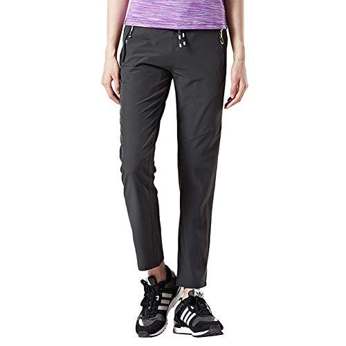 BGOWATU Women's Hiking Pants Quick Dry Stretch with Zipper Pockets Mountain Trousers Dark Grey