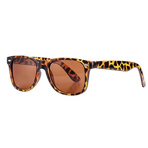 Retro Matte Black Horned Rim Flash Colored Lens Sunglasses (As pictures, Leopard frame/tea color - Leopard Men Sunglasses