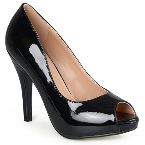 Brinley Co Womens Layne Dress Pump Regular & Wide Sizes Black Patent Pu 9XlefhTmOh