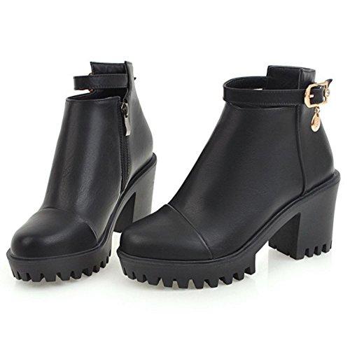 COOLCEPT Women Fashion Boots Zipper Black 2QVT124hUW