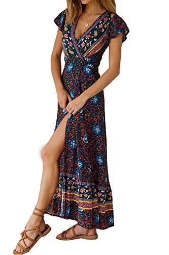 Alelly Women's Summer Boho Floral V Neck Split Belted Beach Maxi Dress Navy