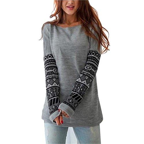 Women Blouse,Haoricu Womens Long Sleeve Shirt Casual Blouse Loose Cotton Tops T Shirt (S, - Cotton Gray S/s T-shirt