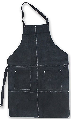 Genuine Leather Bib Style Shop Apron With 2 Pockets In Black Color by ToolUSA