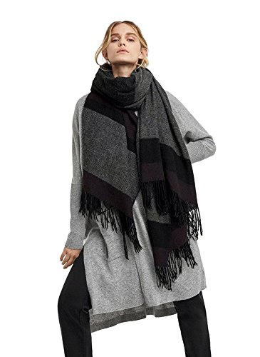 Kit and Ace Womens 100% Cashmere Border On Softness Scarf (Oxidize Stripe, One-Size) by Kit and Ace