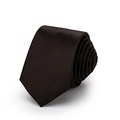 Rusty Bob - Slim tie narrow/thin 3cm-5cm for men [for children / boy] (college, not striped) Polyester shines like silk - Dark (Thin Narrow Tie)