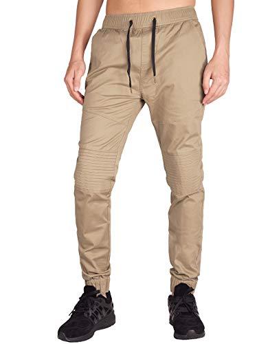 ITALY MORN Men's Chino Jogger Casual Pants S Khaki