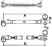 Stainless Steel Turnbuckle Jaw/Jaw 1/4&