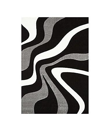 DIAMOND VAGUES Tapis de salon 80x150 noir gris et blanc ...