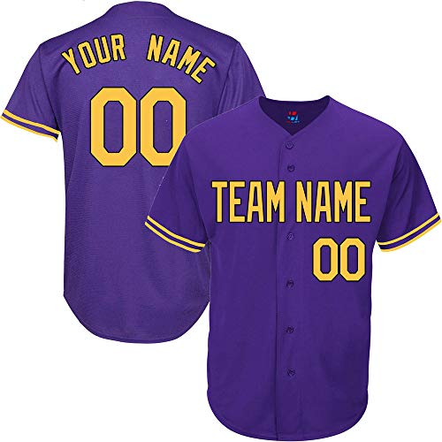 Purple Customized Baseball Jersey for Men Throwback Embroidered Team Player Name & Numbers,Yellow-Black Size M
