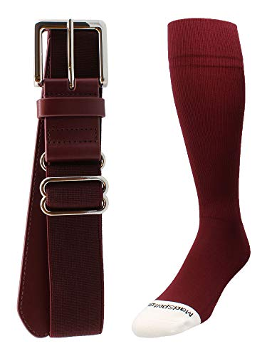 Pro Line Baseball Socks and Belt Combo (Maroon, ()