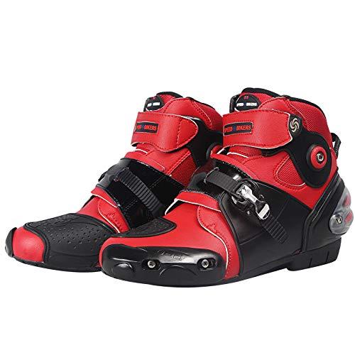 XuBa Men Soft Motorcycle Boots Biker Waterproof Speed Motocross Booties Non-Slip Motorcycle Shoes, Red 10