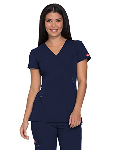 Dickies Xtreme Stretch Women's Mock Wrap Solid Scrub Top Small (Trim Utility Shirt)