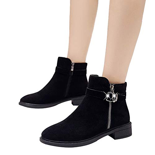 Fitfulvan Women Flat Shoes Martain Boots Suede Buckle Strap Keep Warm Shoes (Black,5.5)