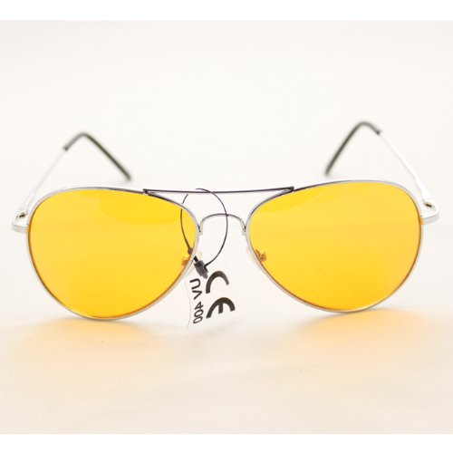 Aviator Fashion Sunglasses 30011c Silver Frame Yellow Lens for Men and - Walter Sunglasses