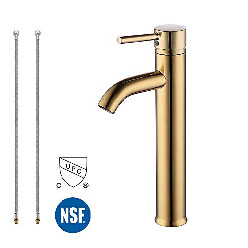 KES cUPC NSF Certified BRASS Faucet Bathroom Sink Brass Single Hole Single Handle Lavatory Faucet Wash Basin Faucet Tap Lead-Free, Titanium Gold, L3100BLF-4