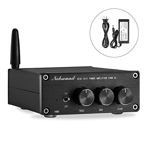 Nobsound Mini 200W Bluetooth 4.2 TPA3116 Power Amplifier, Wireless Receiver, Hi-Fi Stereo Class D Audio Amp with Power Supply, Treble Bass Control (Bluetooth 4.2)