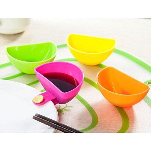 4 pcs/Set Assorted Salad Sauce Ketchup Jam Dip Clip Cup Bowl Dishes Saucer Plastic Tableware Kitchen Sugar Salt Vinegar Tool