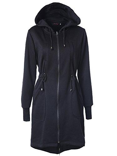 Mujeres Chaqueta Largo Con Capucha Estilo Casual Jacket Sudadera Con Capucha Negro
