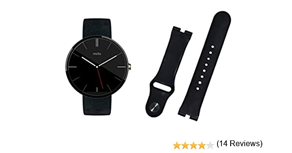 BlueBeach® La alta calidad de Motorola Moto 360 correa de pulsera de silicona de repuesto (Negro)