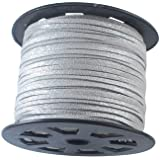 UnCommon Artistry Metallic Glitter Silver Faux Leather Suede Necklace Cord 10 Feet Ultra Microfiber