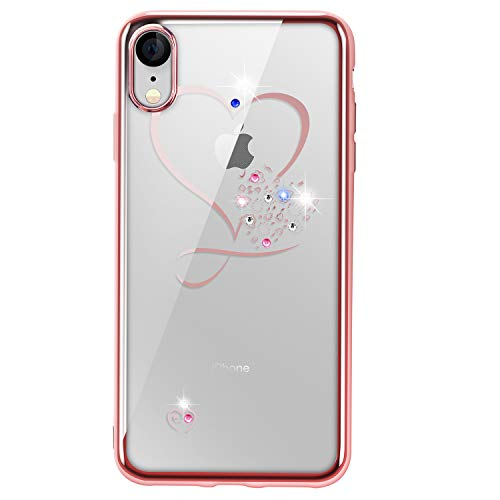 iPhone Xr Case,SQMCase Clear Crystal Glitter Sparkly Diamonds Sweet Love Heart Slim Durable TPU Case with Electroplated Frame for iPhone Xr,Rose Gold