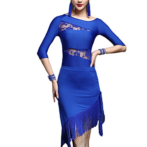 2 Pieces Womens of Hot Zhhlinyuan Salsa Fringe Azul Competition Set Skirt Dance latín Costume 019 Lace O7SBqwfS