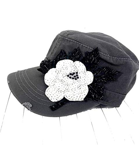 Swarovski Cotton Cap (Women's Military Hat in Gray with Swarovski Crystal Beaded Flower Applique Bling)