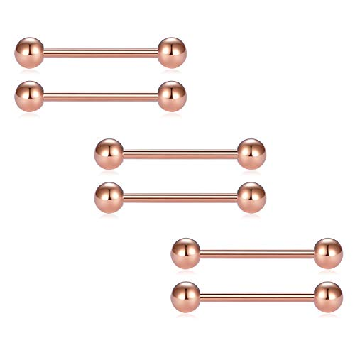 vcmart 2pcs 14G 18mm Tongue Nipple Rings Straight Barbells Body Piercing Jewelry, Rosegold-Tone