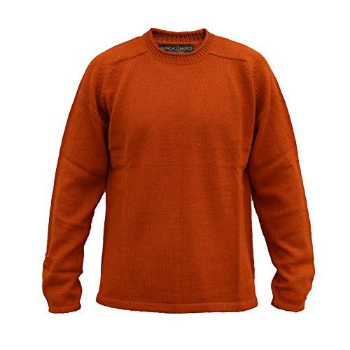 (Alpaca Basics Men's Handmade 100% Alpaca Wool Roll Neck Sweater (Burnt Orange,)