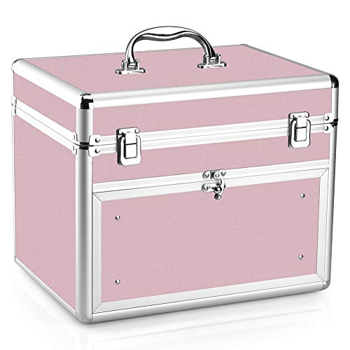 Makeup Case - Professional Portable Aluminum Cosmetic Storage Organizer For Nail Polish Artist With Drawer and Dividers Pink