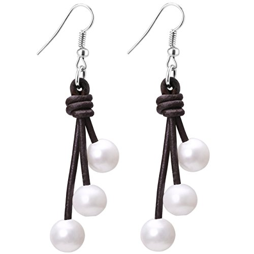 - Aobei Pearl Women's Cultured Freshwater Pearl Hook Earrings Dangle with 3 Pearls Drop Pendant on Genuine Leather