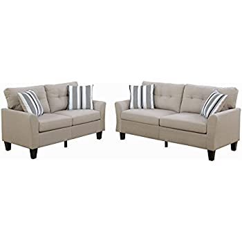 Poundex F6534 Bobkona Dreka Sofa And Loveseat, Beige