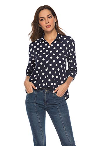SHENGYI Women's Casual Loose Shirts Tops V Neck 3/4 Sleeve Polka Dot Elegant Formal Blouse Navy Blue Large (Woven Shirt Sleeve)