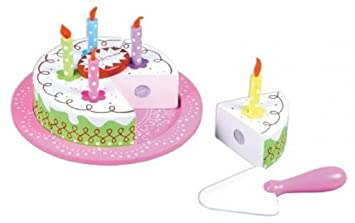 LELIN Wooden Birthday Party Cream Cake Pretend Play Role Set For Children