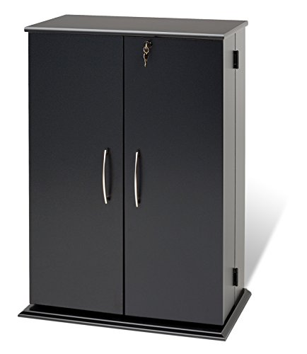 Prepac Locking Media  Storage Cabinet, Black (Media Storage Set Cabinet)