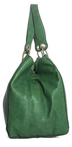 BHBS Bolso Grande para Dama Dos en Uno tipo Tote para Hombro 38x34x22 cm (LxAxP) verde azulado