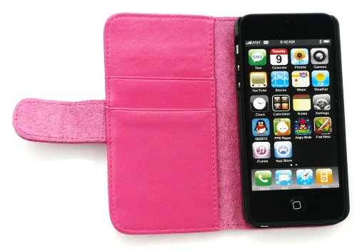 Emartbuy® Apple Iphone 5 5s Premium Pu Leather Wallet Case / Cover / Pouch Mit Credit Card Slots Rosa