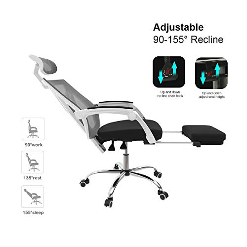 Hbada Ergonomic Office Chair - High-Back Desk Chair Racing Style with Lumbar Support - Height Adjustable Seat,Headrest- Breathable Mesh Back - Soft Foam Seat Cushion with Footrest, White by Hbada (Image #7)