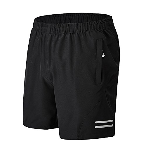 Men's Comfortable Loose Gym Fitness Training Workout Running Shorts with Zipped Side Pockets - Liner Shorts Running Without
